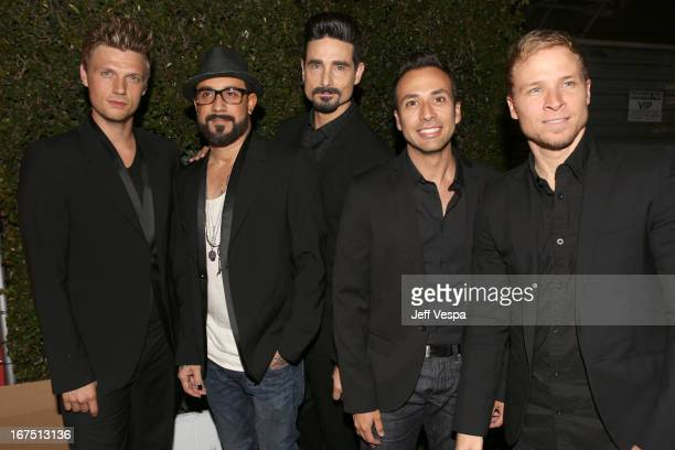 Singers Nick Carter A J McLean Kevin Richardson Howie Dorough and Brian Littrell of the Backstreet Boys attends the Second Annual Hilarity For...