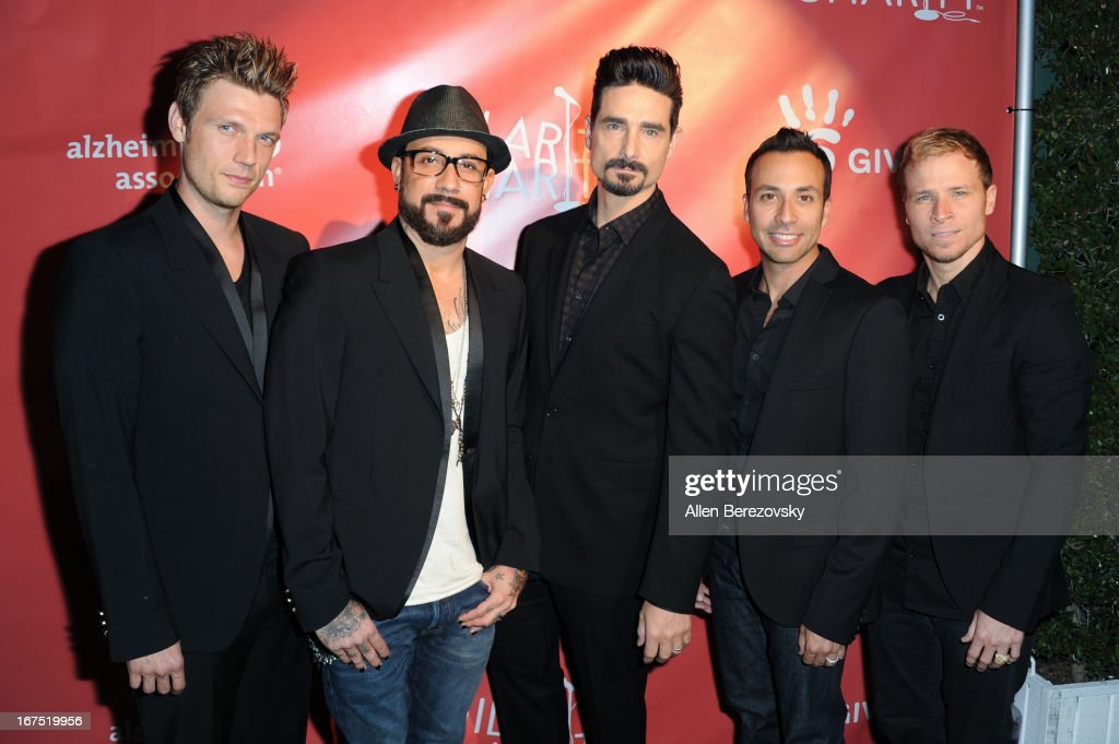 Singers Nick Carter, A. J. McLean, Kevin Richardson, Howie Dorough, and Brian Littrell of the Backstreet Boys arrive at Hilarity For Charity fundraiser benefiting The Alzheimer's Association at Avalon on April 25, 2013 in Hollywood, California.