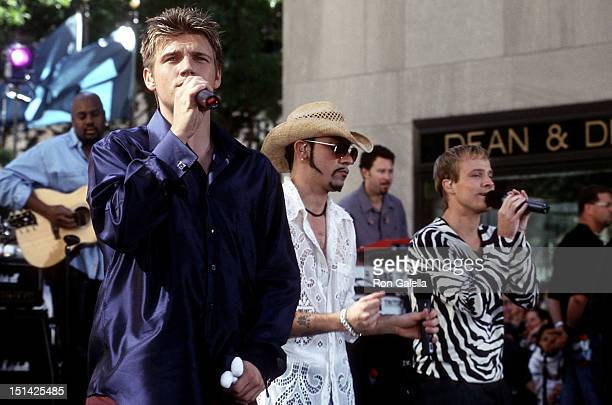 Singers Nick Carter AJ McLean and Brian Littrell of the Backstreet Boys perform at 'The Today Show' Summer Concert Series on July 2 2001 at...