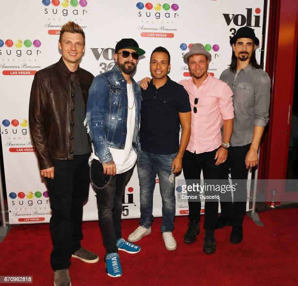 Singers Nick Carter AJ McLean Howie Dorough Brian Littrell and Kevin Richardson of the Backstreet Boys arrive at Sugar Factory American Brasserie at...