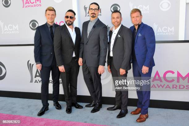 Singers Nick Carter AJ McLean Kevin Richardson Howie Dorough and Brian Littrell of music group Backstreet Boys attend at the 52nd Academy Of Country...