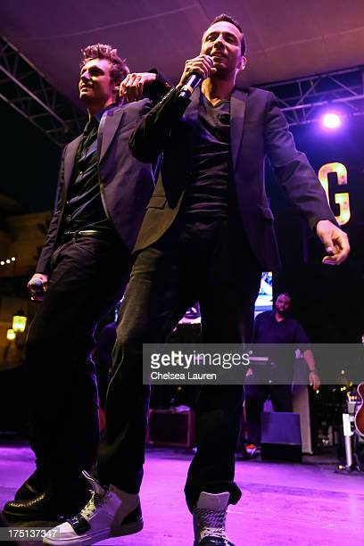 Singers Nick Carter and Howie Dorough of the Backstreet Boys perform at the 2013 summer concert series at The Grove on July 31 2013 in Los Angeles...