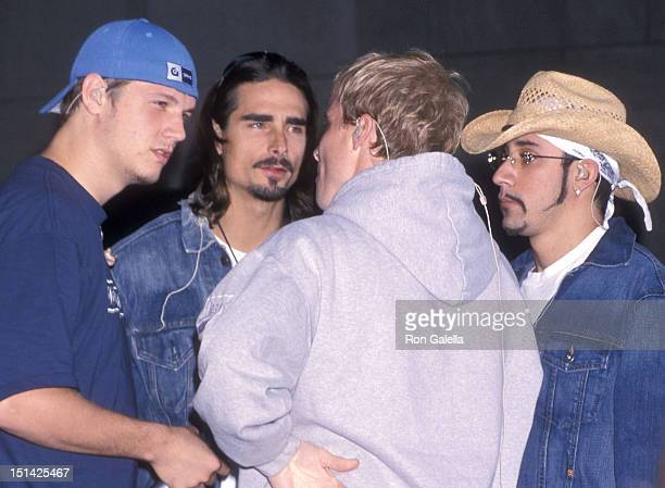 Singers Nick Carter Kevin Richardson Brian Littrell and AJ McLean of the Backstreet Boys perform at 'The Today Show' Summer Concert Series on July 2...