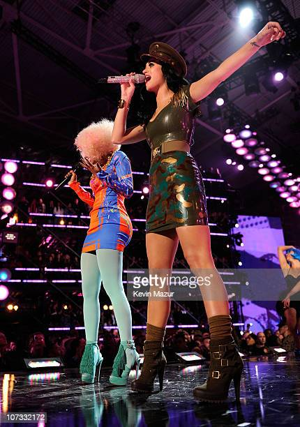 Singers Nicki Minaj and Katy Perry perform onstage during VH1 Divas Salute the Troops presented by the USO at the MCAS Miramar on December 3 2010 in...