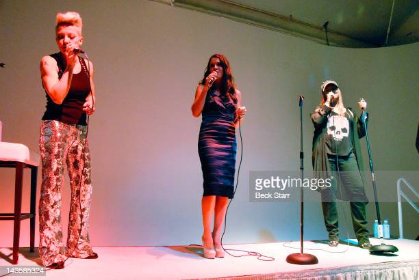 Singers Nikki Flux Marisa Rhodes and Nicky Trebek perform at Nancy's Tree Garden Party fundraiser benefiting Los Angeles area locals Nancy and Jay...