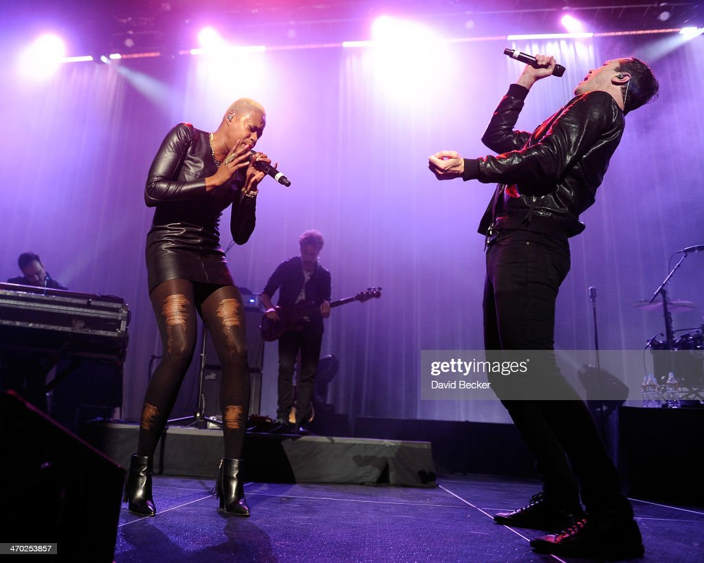 Singers Noelle Scagg (L) and Michael 'Fitz' Fitzpatrick of Fitz and the Tantrums perform at The Chelsea at The Cosmopolitan of Las Vegas on February 18, 2014 in Las Vegas, Nevada.