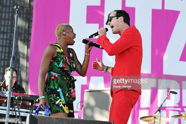 Singers Noelle Scaggs and Michael Fitzpatrick of Fitz and the Tantrums perform onstage during day 3 of the 2012 Coachella Valley Music Arts Festival...