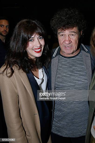 Singers Nolwenn Leroy and Robert Charlebois pose after the Robert Charlebois 50 ans 50 chansons Concert at Bobino on April 11 2016 in Paris France