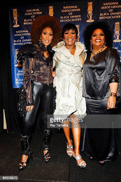 Singers Nona Hendryx Patti LaBelle and Sarah Dash of Labelle attend the 25th annual Communication Awards dinner at the Marriott Wardman Park Hotel on...