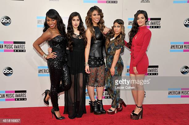 Singers Normani Kordei, Lauren Jauregui, Dinah Jane Hansen, Ally Brooke and Camila Cabello of Fifth Harmony attend the 2013 American Music Awards at...