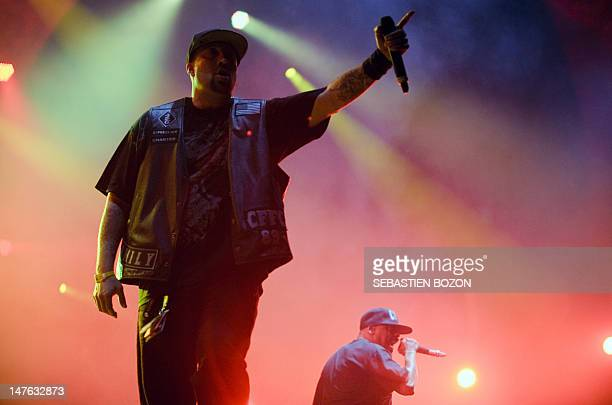 US singers of Cypress Hill BReal and Sen Dog perform on stage on the third day of the Eurockeennes' festival on July 1 in the French eastern city of...