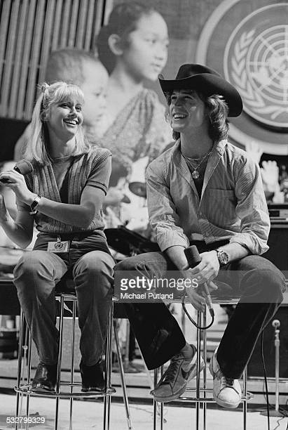 Singers Olivia NewtonJohn and Andy Gibb at 'The Music for UNICEF Concert A Gift of Song' benefit concert held at the United Nations General Assembly...