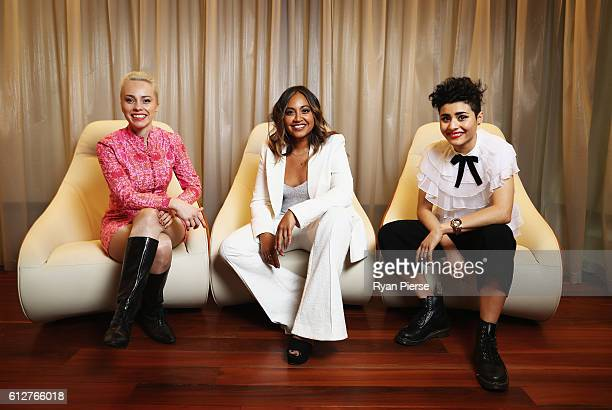 Singers Olympia Jessica Mauboy and Montaigne pose at the 30th Annual ARIA Nominations Event on October 5 2016 in Sydney Australia