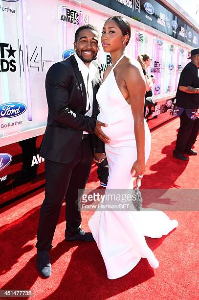 Singers Omarion and Apryl Jones attend the BET AWARDS '14 at Nokia Theatre LA LIVE on June 29 2014 in Los Angeles California