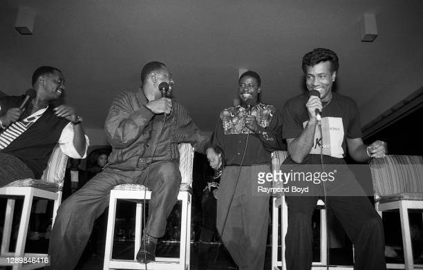 Singers Otis Williams and Melvin Franklin of The Temptations, Gerald Alston, formerly of The Manhattans and Richard Street of The Temptations...