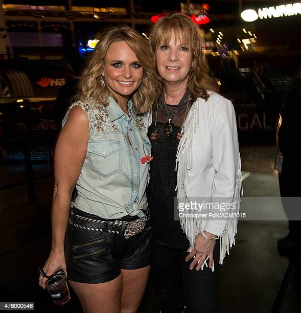 Singers Patty Loveless and Miranda Lambert attend the ACM Presents Superstar Duets at Globe Life Park in Arlington on April 18 2015 in Arlington Texas