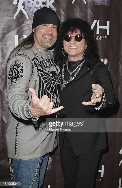 Singers Paul Shortino and Danny Koker attend the Raiding the Rock Vault VIP opening and red carpet at the LVH Hotel Casino on March 18 2013 in Las...