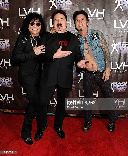 Singers Paul Shortino Bobby Kimball and guitarist Tracii Guns arrive at the grand opening of 'Raiding the Rock Vault' at the Las Vegas Hotel Casino...