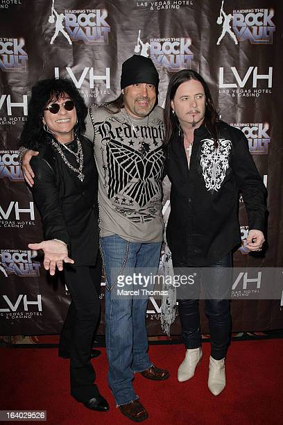Singers Paul Shortino Danny Koker and John Payne attend the Raiding the Rock Vault VIP opening and red carpet at the LVH Hotel Casino on March 18...