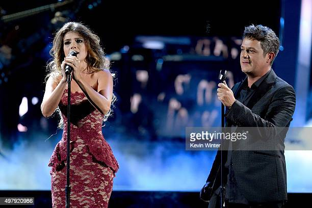 Singers Paula Fernandes and Alejandro Sanz perform onstage during the 16th Latin GRAMMY Awards at the MGM Grand Garden Arena on November 19 2015 in...