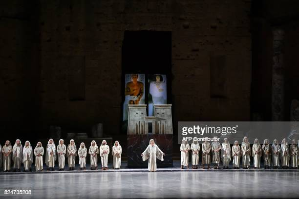 Singers perform the opera 'Aida' by Giuseppe Verdi on July 30 2017 in Orange southern France during the Choregies d'Orange festival dedicated to...