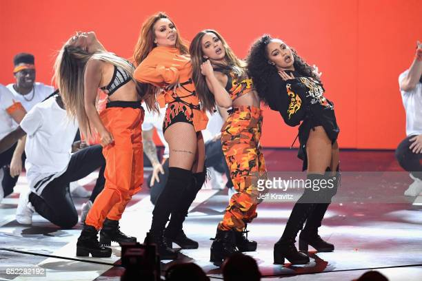 Singers Perrie Edwards Jesy Nelson Jade Thirlwall and LeighAnne Pinnock of Little Mix perform onstage at Nickelodeon's 2017 Kids' Choice Awards at...