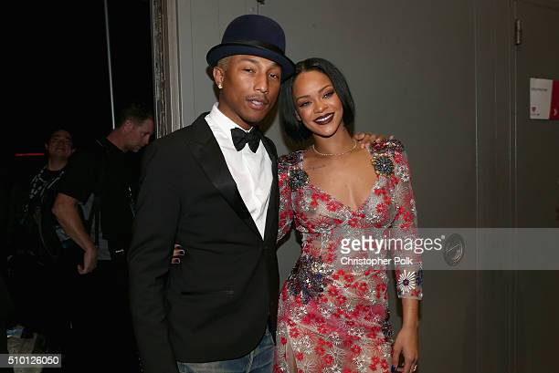 Singers Pharrell Williams and Rihanna attend the 2016 MusiCares Person of the Year honoring Lionel Richie at the Los Angeles Convention Center on...