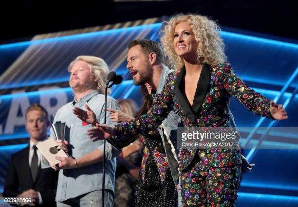 Singers Philip Sweet Jimi Westbrook and Kimberly Roads Schlapman of Little Big Town speak onstage during the 52nd Academy of Country Music Awards at...