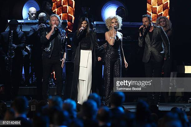 Singers Philip Sweet Karen Fairchild Kimberly Schlapman and Jimi Westbrook of Little Big Town perform on stage during the 2016 MusiCares Person Of...
