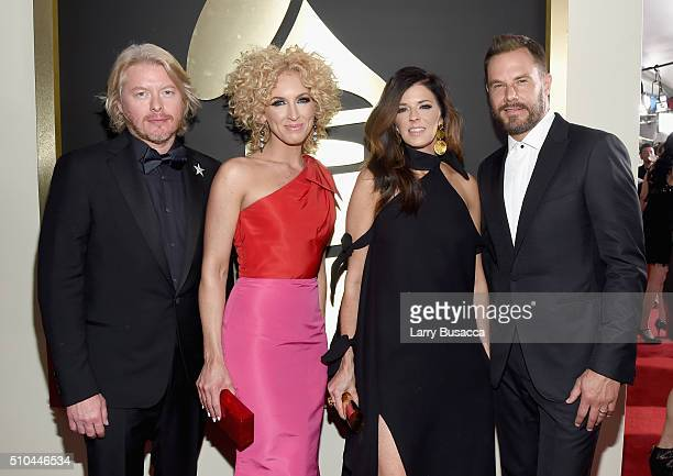 Singers Phillip Sweet Kimberly Schlapman Karen Fairchild and Jimi Westbrook of Little Big Town attend The 58th GRAMMY Awards at Staples Center on...