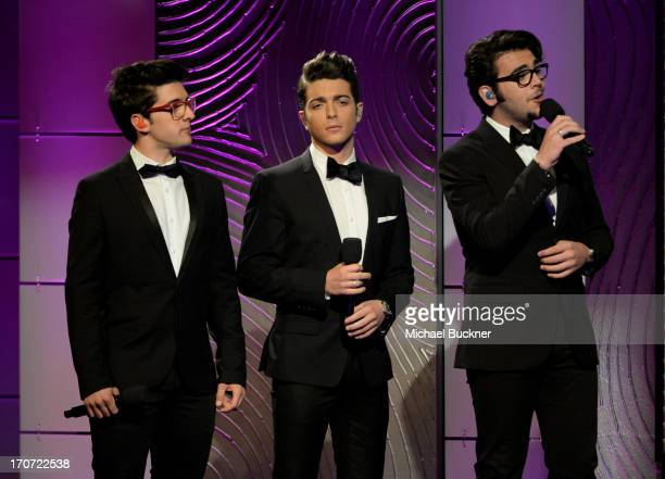 Singers Piero Barone Gianluca Ginoble and Ignazio Boschetto of Il Volo perform onstage during the 40th Annual Daytime Emmy Awards at the Beverly...