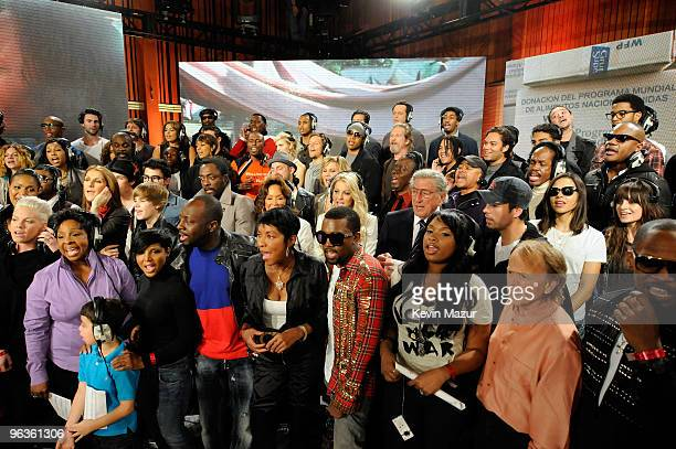 HOLLYWOOD FEBRUARY 01 Singers Pink Gladys Knight Toni Braxton Wyclef Jean Natalie Cole Kanye West Tony Bennett Jennifer Hudson Al Jardine and others...