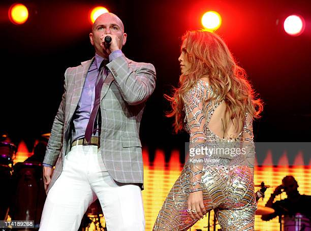 Singers Pitbull and Jennifer Lopez perform at KIIS FM's Wango Tango at the Staples Center on May 14 2011 in Los Angeles California