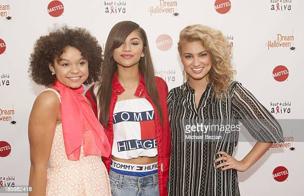 Singers Rachel Crow, Zendaya and Tori Kelly attend Keep A Child Alive's 20th Annual Dream Halloween - Red Carpet at Barker Hangar on October 26, 2013...
