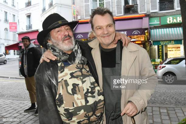 Singers Rachid Taha and Axel Bauer attend Zelia Van Den Bulke Aprons show At Zelia Abbesses Shop on May 1, 2018 in Paris, France.