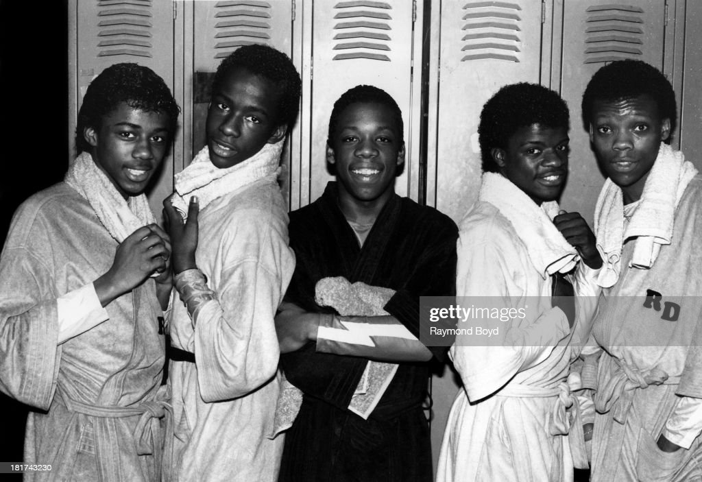 Singing group New Edition(Ralph Tresvant, Bobby Brown, Michael Bivins, Ricky Bell and Ronnie Devoe), poses for photos at Screamin' Wheels Roller Rink in Gary, Indiana in JANUARY