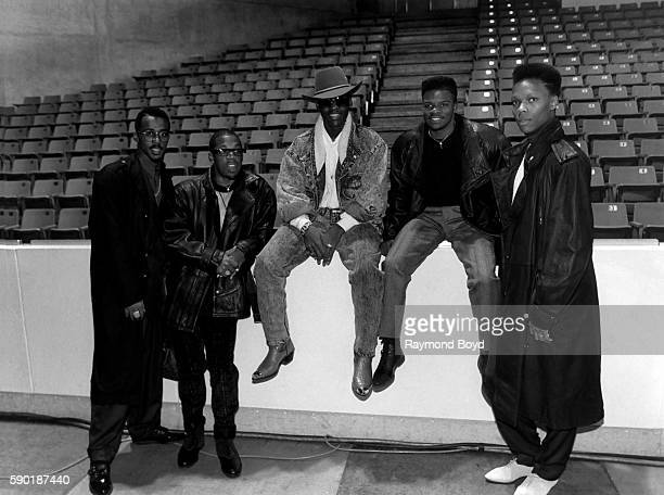 Singers Ralph Tresvant Michael Bivins Johnny Gill Ricky Bell and Ronnie DeVoe from New Edition poses for photos at the UIC Pavilion in Chicago...