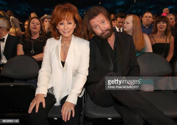 Singers Reba McEntire and Ronnie Dunn attend the 52nd Academy of Country Music Awards at TMobile Arena on April 2 2017 in Las Vegas Nevada