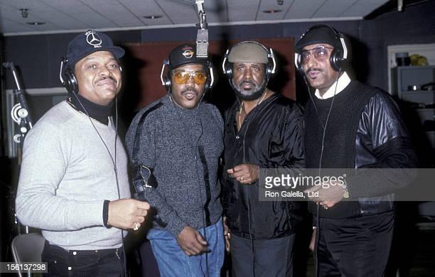 Singers Renaldo 'Obie' Benson Lawrence Payton Levi Stubbs and Abdul 'Duke' Fakir of the Four Tops at Quadrosonic Sound Studio in New York City