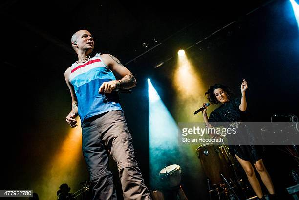 Singers Residente aka Rene Perez Joglar and PG13 aka Ileana Cabra Joglar of Calle 13 perform live on stage during a concert at Columbiahalle on June...