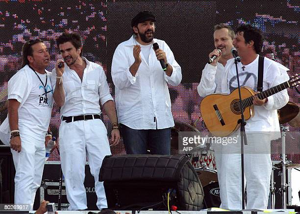 Singers Ricardo Montaner of Venezuela Juanes of Colombia Juan Luis Guerra of Dominican Republic and Miguel Bose and Alejandro Sanz of Spain perform...