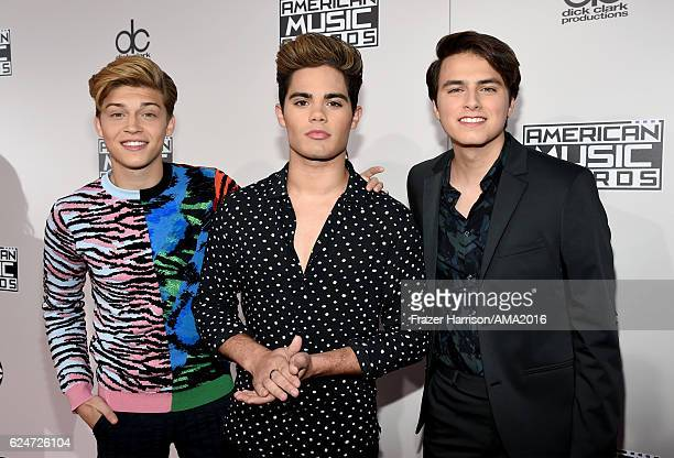 Singers Ricky Garcia Emery Kelly and Liam Attridge of Forever In Your Mind attend the 2016 American Music Awards at Microsoft Theater on November 20...
