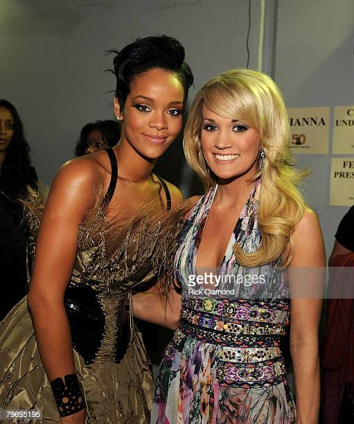 LOS ANGELES CA FEBRUARY 10 Singers Rihanna and Carrie Underwood at the 50th Annual GRAMMY Awards at the Staples Center on February 10 2008 in Los...