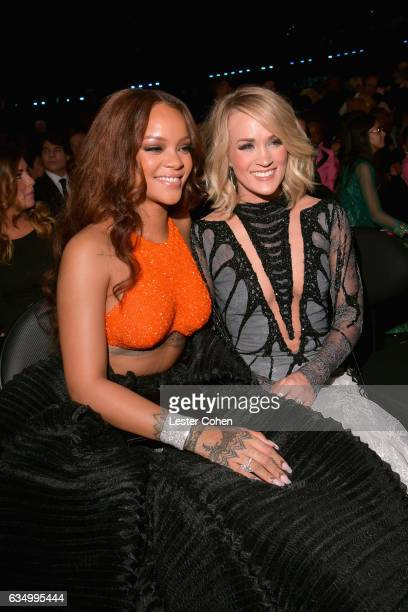 Singers Rihanna and Carrie Underwood during The 59th GRAMMY Awards at STAPLES Center on February 12 2017 in Los Angeles California