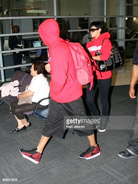 Singers Rihanna and Chris Brown arrive at Perth Airport on November 11 2008 in Perth Australia