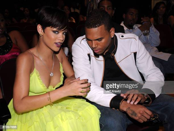 LOS ANGELES CA JUNE 24 Singers Rihanna and Chris Brown attend the 2008 BET Awards at the Shrine Auditorium on June 24 2008 in Los Angeles California...
