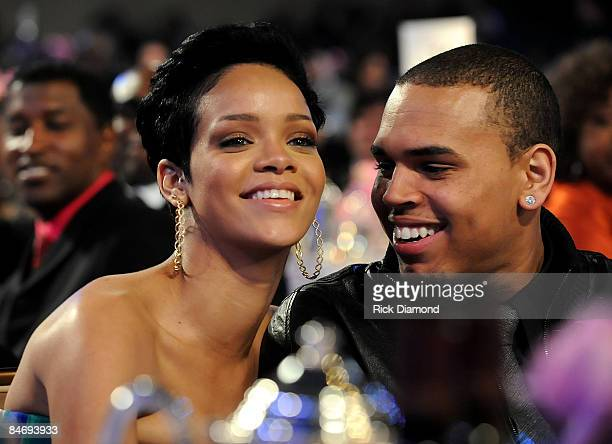 *EXCLUSIVE* Singers Rihanna and Chris Brown attend the 2009 GRAMMY Salute To Industry Icons honoring Clive Davis at the Beverly Hilton Hotel on...