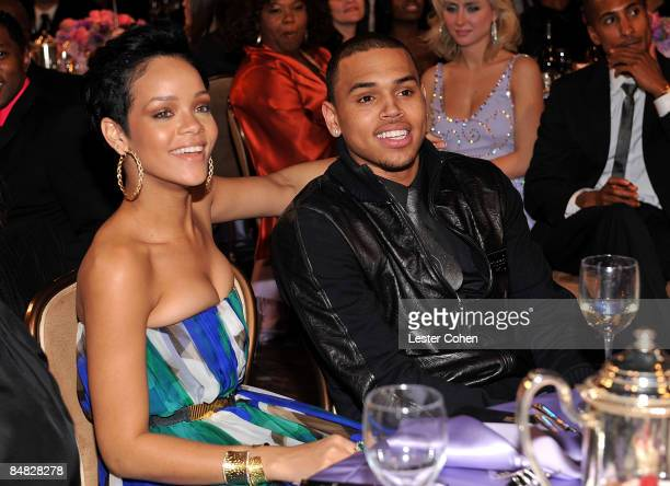 Singers Rihanna and Chris Brown attend the 2009 GRAMMY Salute To Industry Icons honoring Clive Davis at the Beverly Hilton Hotel on February 7 2009...