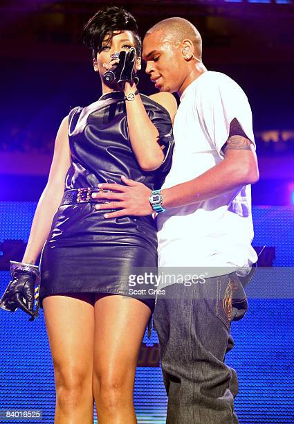 Singers Rihanna and Chris Brown perform on stage during Z100's Jingle Ball at Madison Square Garden on December 12 2008 in New York City