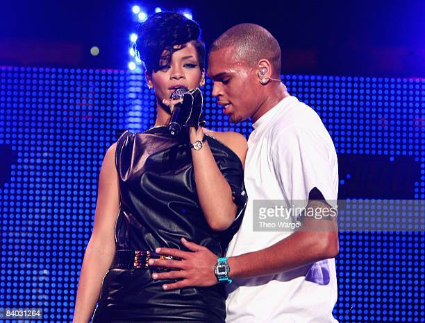 Singers Rihanna and Chris Brown perform on stage during Z100's Jingle Ball 2008 Presented by HM at Madison Square Garden on December 12 2008 in New...